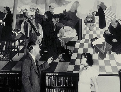 MacDonald Wright pictured with library mural