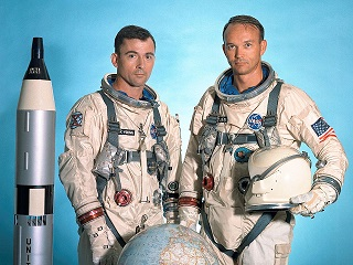Photo of astronauts John Young and Michael Collins . 1966  gemini 10 mission.