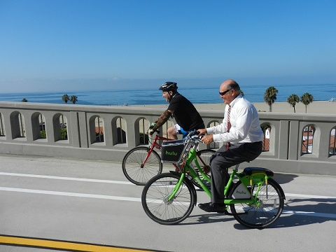 Picture of Mayor Tony Vazquez riding Bike