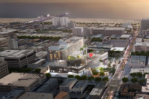 Rendering of arial view of The Plaza at Santa Monica