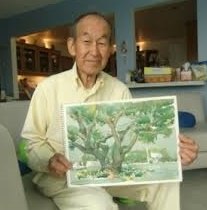 Artist Milton Quon poses with watercolor