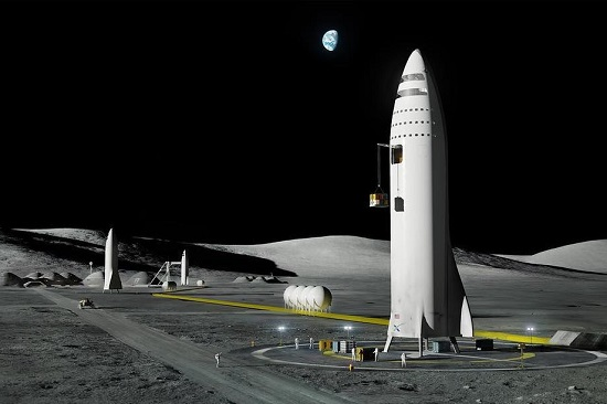 Rendering of SpaceX carft on the moon