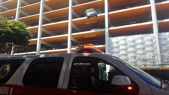 Car dangles from Downtown Santa Monica parking structure